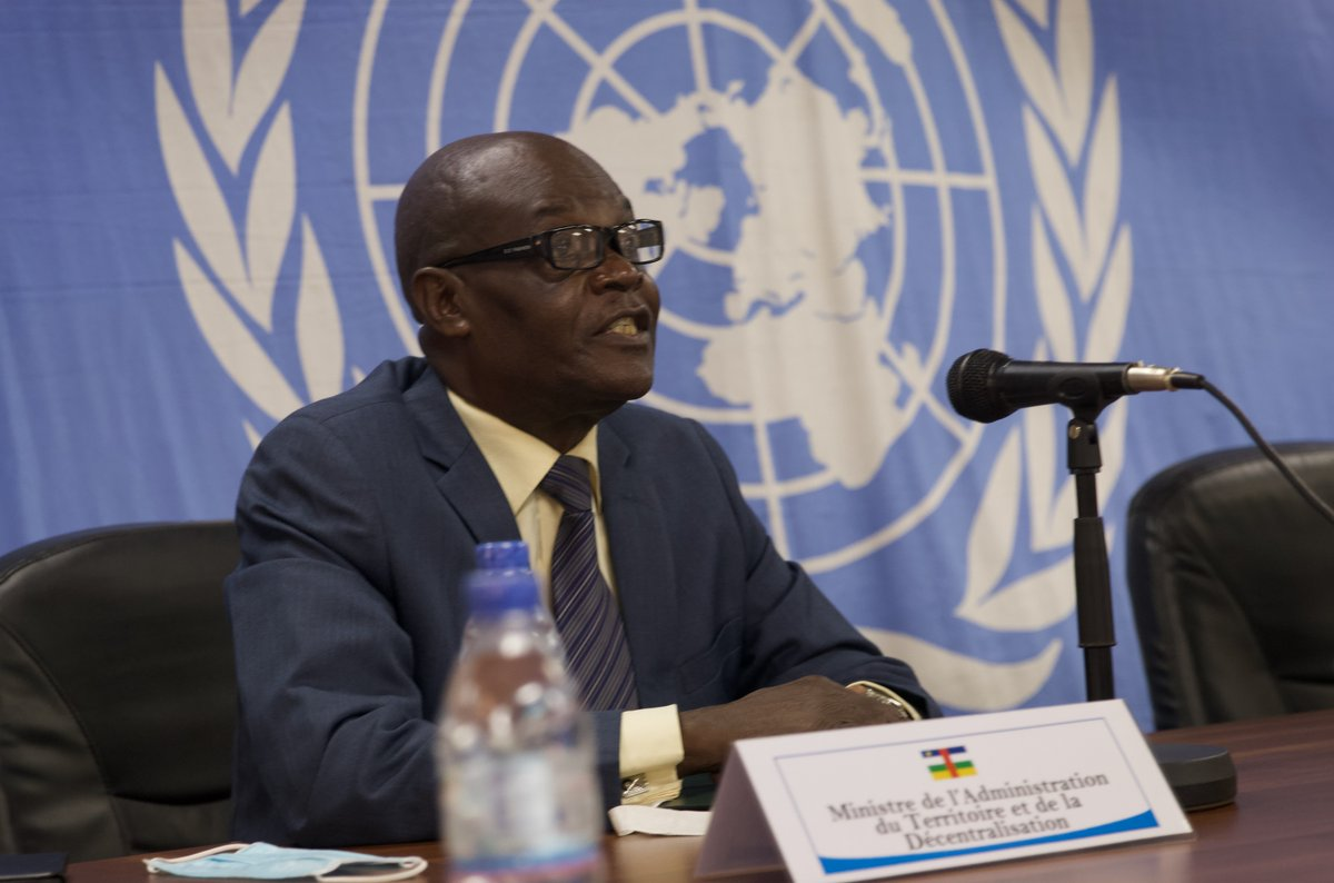 """""""In this period of deep crisis, we're looking for solutions together - through sharing information that could help solve problems quickly."""" - #CAR Minister of Territorial Administration Augustin Yangana Yaote during a briefing on security & the elections on 18 Jan. #ElectionsRCA"""