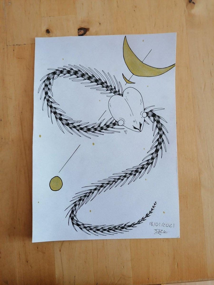 ✨Dessin du jour, Bonjour✨  Petit squelette de serpent :3  #dessin #drawing #noiretblanc #blackandwhite #art #original #dessintraditionnel #traditionnel