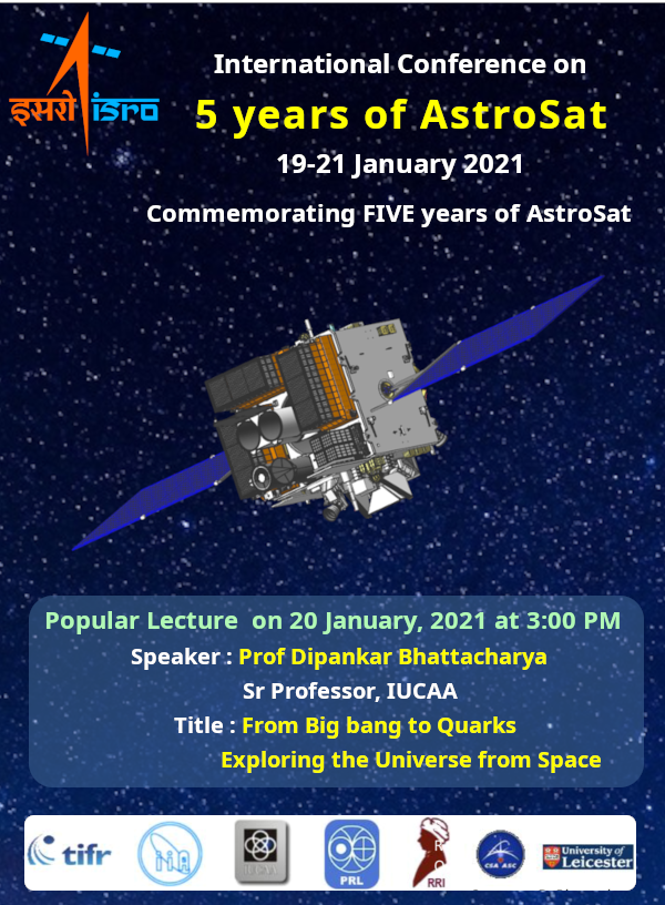 AstroSat completed five years in-orbit! We're bringing together the users of AstroSat to discuss the results in a virtual conference during January 19 – 21.  For details and program schedule, visit    Updates to continue...