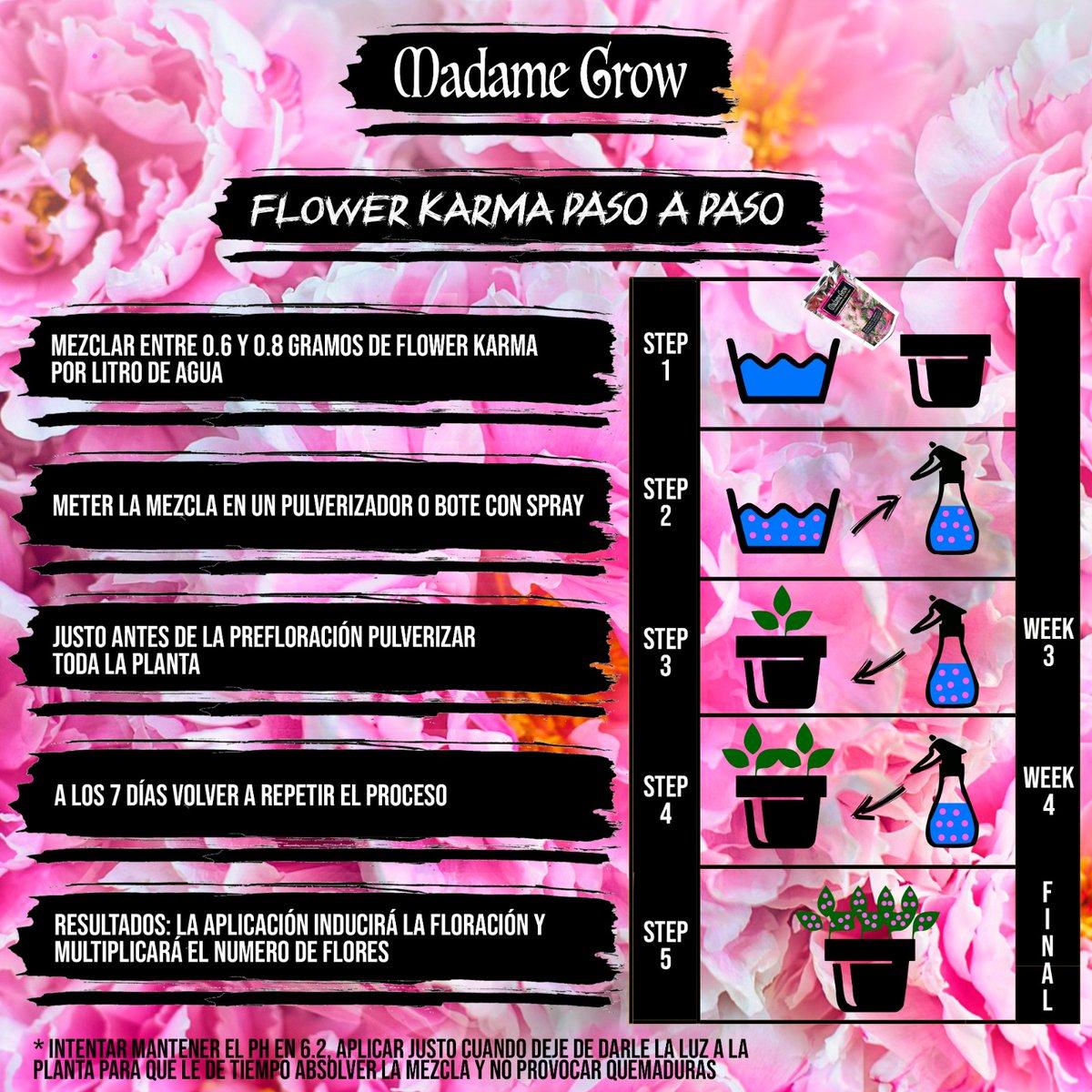 🌸🌸¿Todavía no sabes usar FLOWER KARMA? 🌸🌸   Echa un vistazo a nuestra infografía y sigue sus instrucciones.   ¡Flower Karma!     #MadameGrow #Grower #Floración #Fertilizante #AbonoNatural #Nature #Organic #Indoor #Plantas #Cáñamo #Weed #Green #Relax