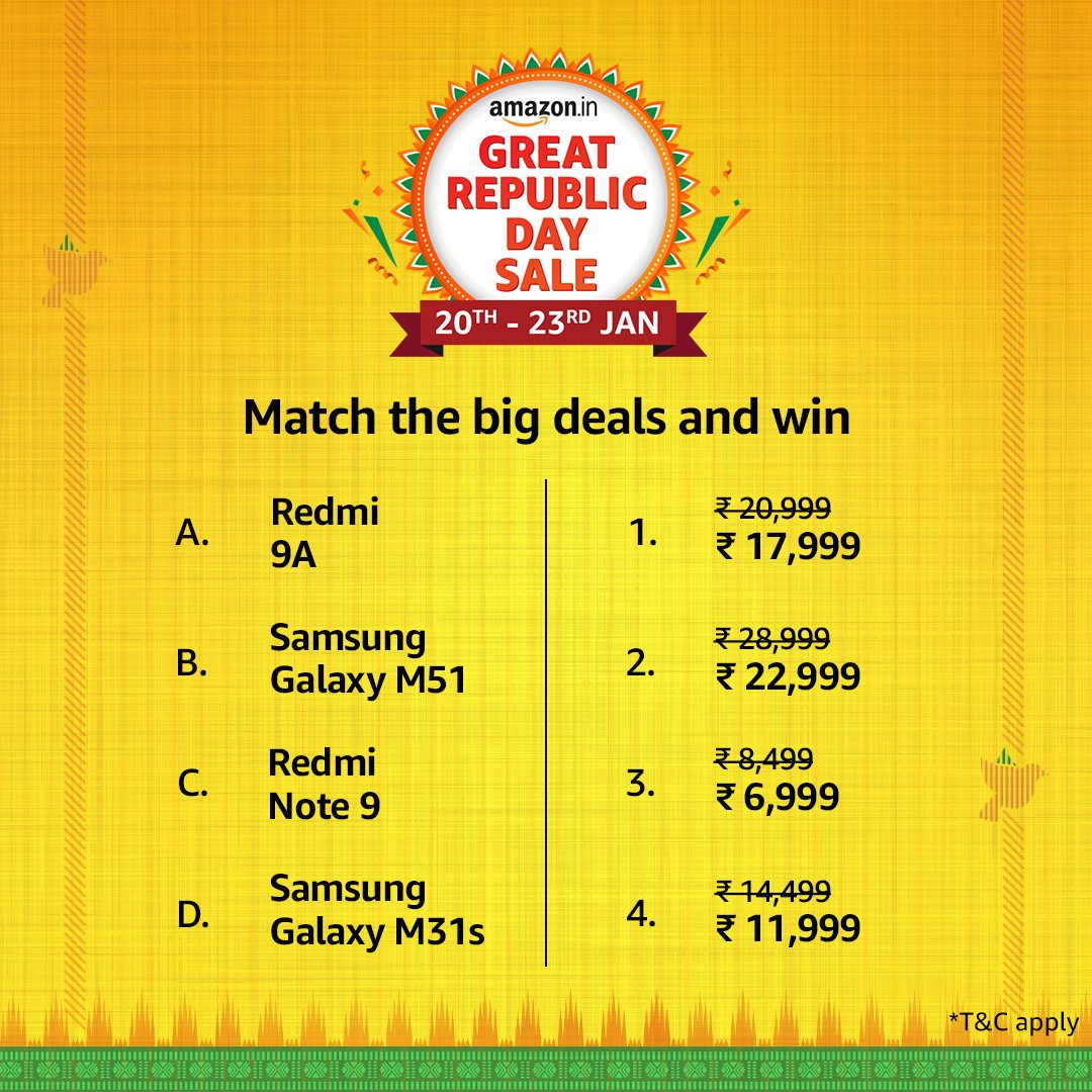 Amazon Gift Vouchers are waiting for you. All you have to do is match the products with the respective deals on them and stand a chance to win Vouchers! Don't forget to use #AmazonGreatRepublicDaySale#NewBeginningsBigSavings and tag @amazonIN  T&C: