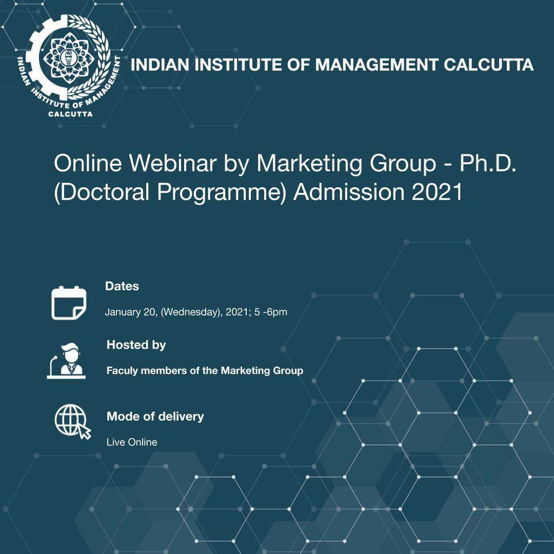 Join IIM C's online webinar for applicants interested in admissions for the Ph.D (Doctoral Programme) 2021, organized by the faculty members of the Marketing group. Register here: https://t.co/b0qDVLzSJk https://t.co/zFDpxWKQrV
