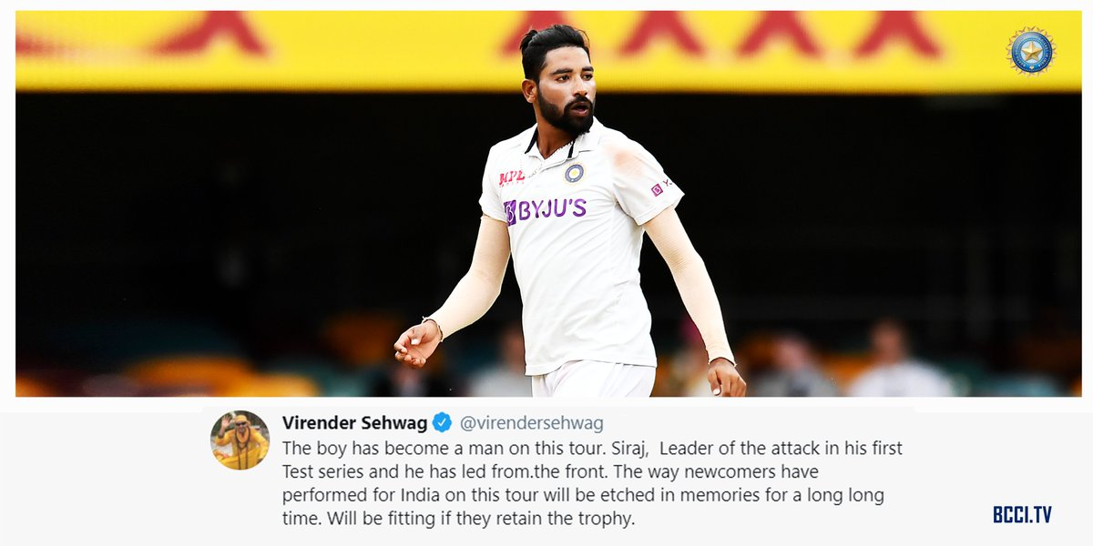 """""""The boy has become a man on this tour.""""  @virendersehwag heaps praise on Siraj and every other newcomer for their performances on a remarkable tour.  #AUSvIND"""