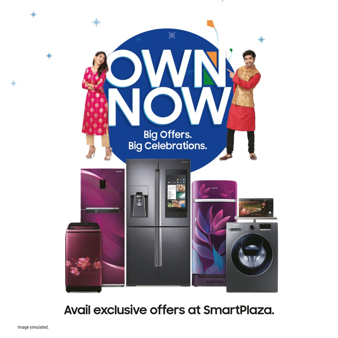 The best time to own your favourite Samsung Home Appliances is now. Visit your nearest SmartPlaza and avail exclusive offers like up to 22.5% cashback, up to ₹3000 cashback with amazonpay, easy EMIs and more. T&C apply. Offers valid till 5th February, 2021.