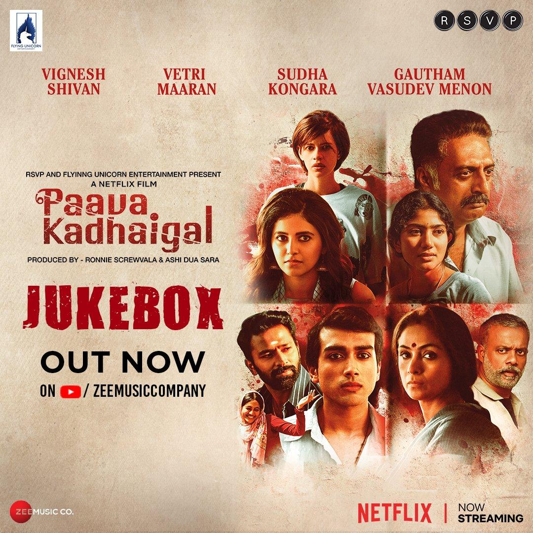 Your playlist for the week is ready! #PaavaKadhaigal jukebox out now:   @RonnieScrewvala @menongautham @SimranbaggaOffc @AadhityaBaaskar @kalidas700 @imKBRshanthnu @BhavaniSre @VetriMaaran @prakashraaj @Sai_Pallavi92 @VigneshShivn @yoursanjali @kalkikanmani