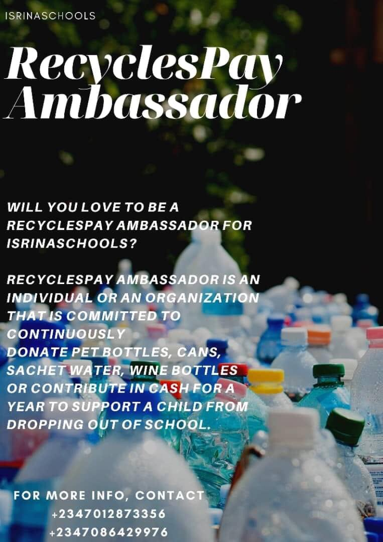 We appreciate everyone for their kind words and encouragement. We wouldn't have come this far without your support.   As schools are about to reopen;  how would you like to be a recycle pay ambassador for Isrinaschools