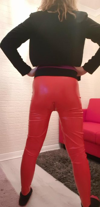 3 pic. Good morning everybody.  I decided to dress up for work today in latex trousers. I hope you like