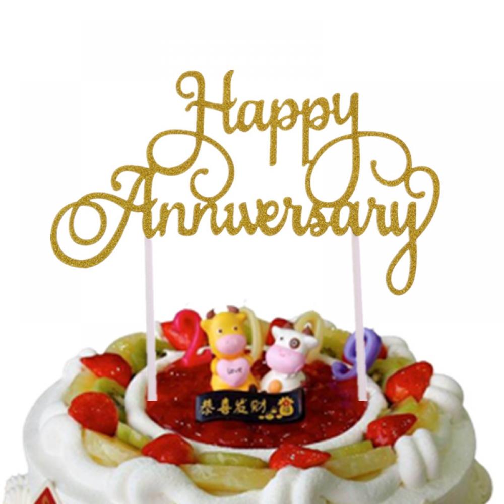 #model #cool Glittery Happy Anniversary Cake Topper