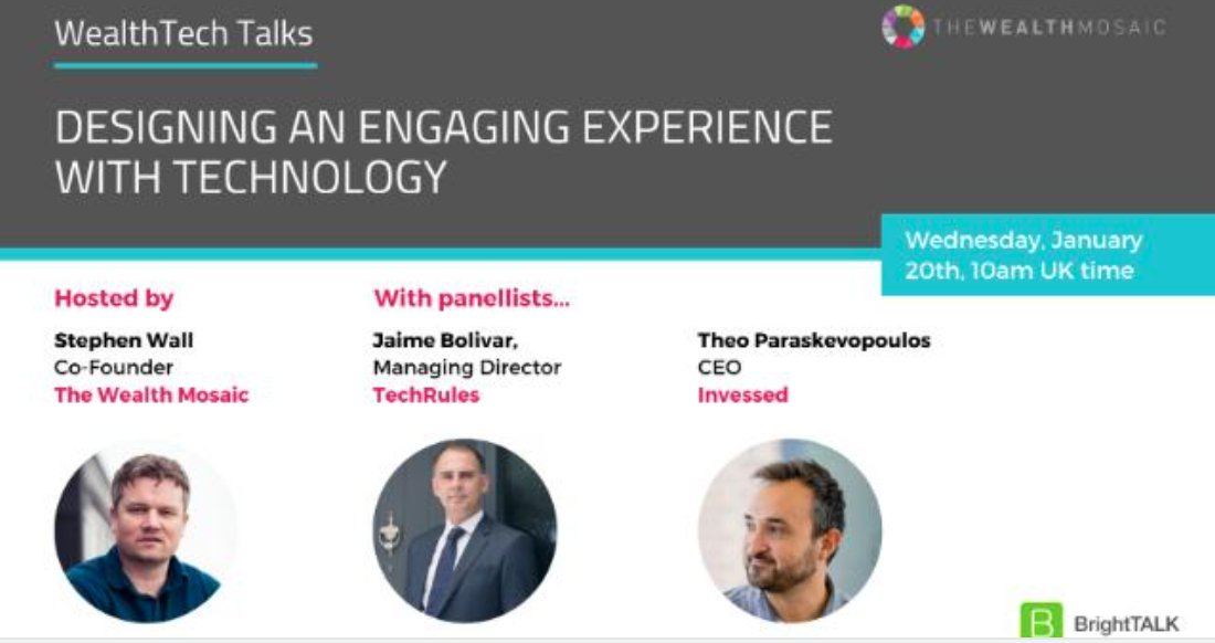"""Have you signed up to the TWM webinar yet, it's coming up this Wednesday?  Join Theo on the #wealthtech #webinar """"Designing an Engaging Experience with Technology"""" on the 20th.  #wealthmanagement #wealthinsights #wealthknowledge #digitalwealth"""