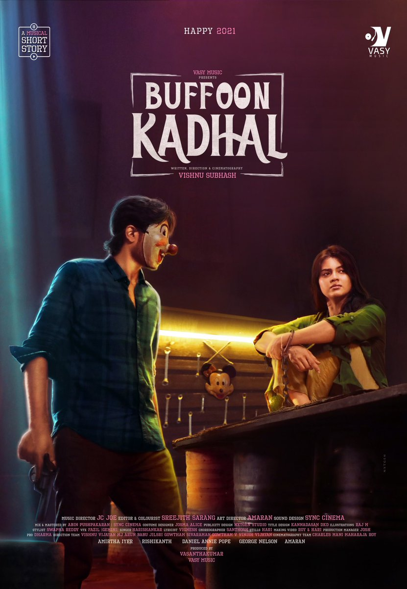 This is as intense as it get to ,Victim of love Here is  The stunning First look of #Buffon Kadhal Brilliant musical tale Congratulations to the entire team   @Actor_Amritha @iamrishikanth  @georgevijaymn @Danielanniepope @vishnu_Subhash @musicvasy @vasyramky @VishnuV39636694