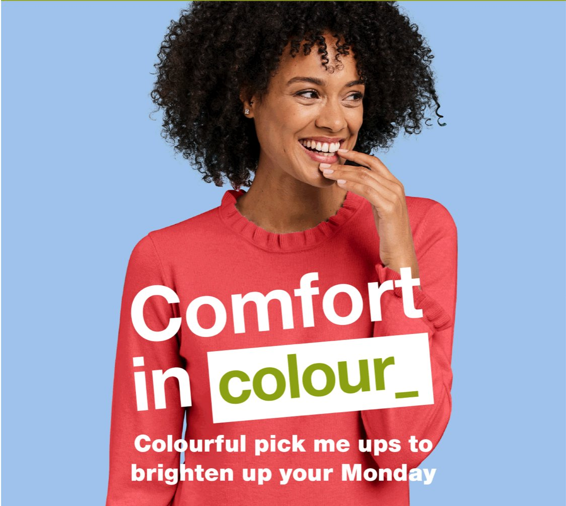 Comfort in Colour_ Colourful pick me ups to brighten your Monday. 15% off EVERYTHING sitewide today only! Shop Mood Boosting Styles: bit.ly/3iPS2q6