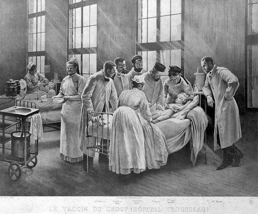 #vaccine | @Europeanaeu | Wellcome collection   «An injection against croup at the Hôpital Trousseau, Paris. Lithograph by E. Buval after P.A.A. Brouillet.»  Pierre André A. Brouillet R. Engelmann, (Atelier Belfond) https://t.co/UycI3ebAg5