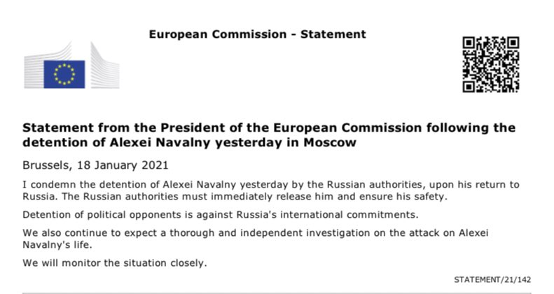 I condemn the detention of Alexei Navalny by the Russian authorities. They must immediately release him and ensure his safety.   Detention of political opponents is against Russia's international commitments.