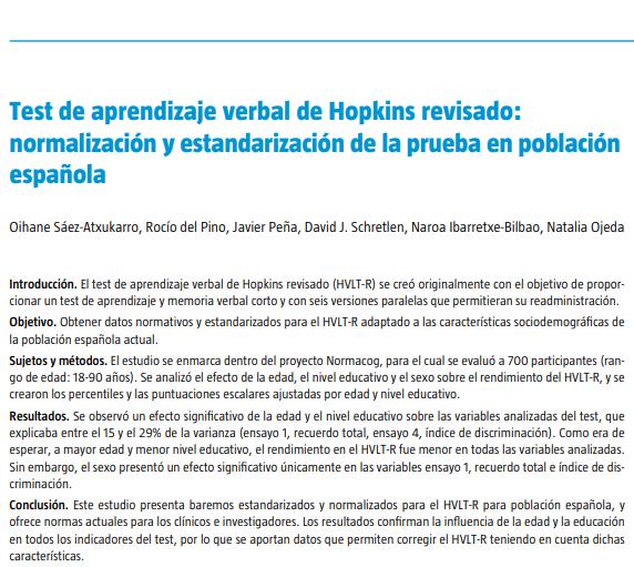 """Comenzamos este #BlueMonday menos #Blue  ¡Nuevo #paper publicado en @RevNeurol!  """"Test de #aprendizaje #verbal de #Hopkins revisado: #normalización y #estandarización de la prueba en población #española    ¡Enhorabuena a lxs autorxs!🎉🎊  #neuropsicología"""