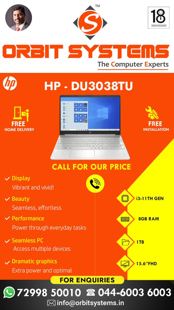 Orbit Systems online computer shopping #pongal #offer #hp #weekend For more Details:  Phone Number: 044 6003 6003 Cell Number: +91 99627 5001