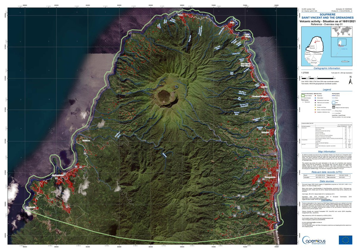 CEMS is monitoring a #volcano in La Soufriere, #SaintVincent after an effusive eruption occurred on 27 December. Rapid Mapping identified vulnerable infrastructure: Exposure to: 🟥 5487 residential buildings ➖ 195 km local roads 🟩 12805 ha of forests emergency.copernicus.eu/mapping/ems-pr…