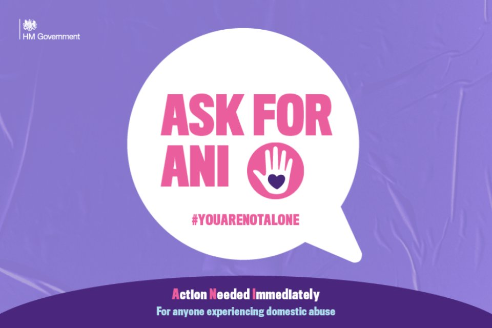 🗣️ The government has teamed up with independent pharmacies and @BootsUK to launch a domestic abuse Ask for ANI codeword scheme.  The scheme allows those at risk or suffering to discreetly signal that they need help and access support.  Look out for this sticker 💜✋ https://t.co/EKbdjAXZlk