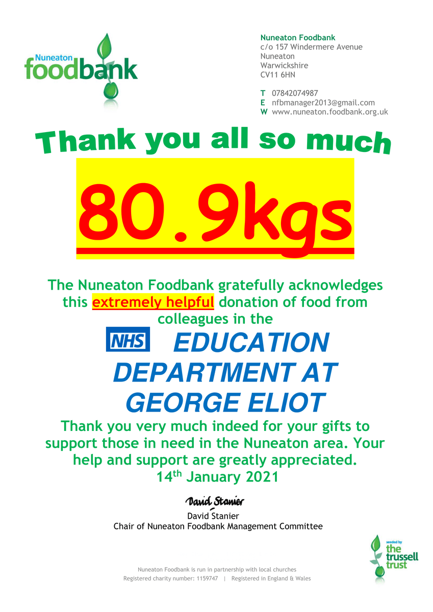 A HUGE thank you to everyone who donated to the Nuneaton foodbank. We managed to raise 80.9kgs worth of food and essentials required by those in need!   @GEHNHSnews @TrussellTrust