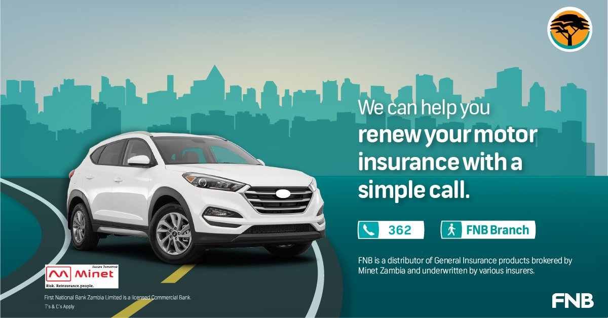 Renew your motor insurance  with a simple call. As an FNB Client, you can access motor insurance directly through the bank. Simply call 362 or visit your nearest FNB branch to purchase insurance and walk away with  your license disk and cover note. https://t.co/GG7MMYgFBk
