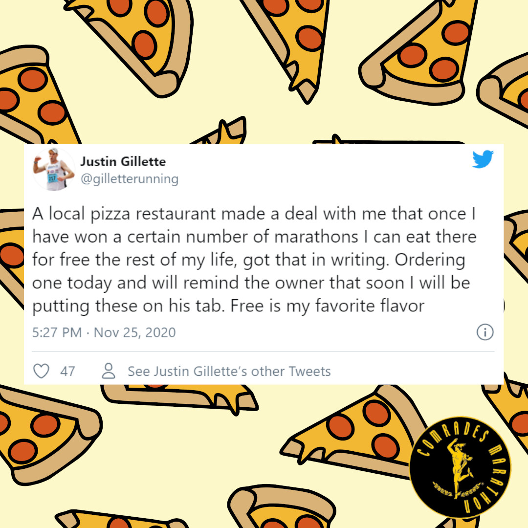 Running for free pizza. 🏃🍕😀  Having won 114 marathons to date, Justin Gillette struck a deal with his local pizzeria that after his 200th win he would eat🍕for free.   What would your pizza toppings be?  Link: https://t.co/KFPhGGRxUx   @ComradesRace @gilletterunning #Pizza https://t.co/3RAjKDTL3x