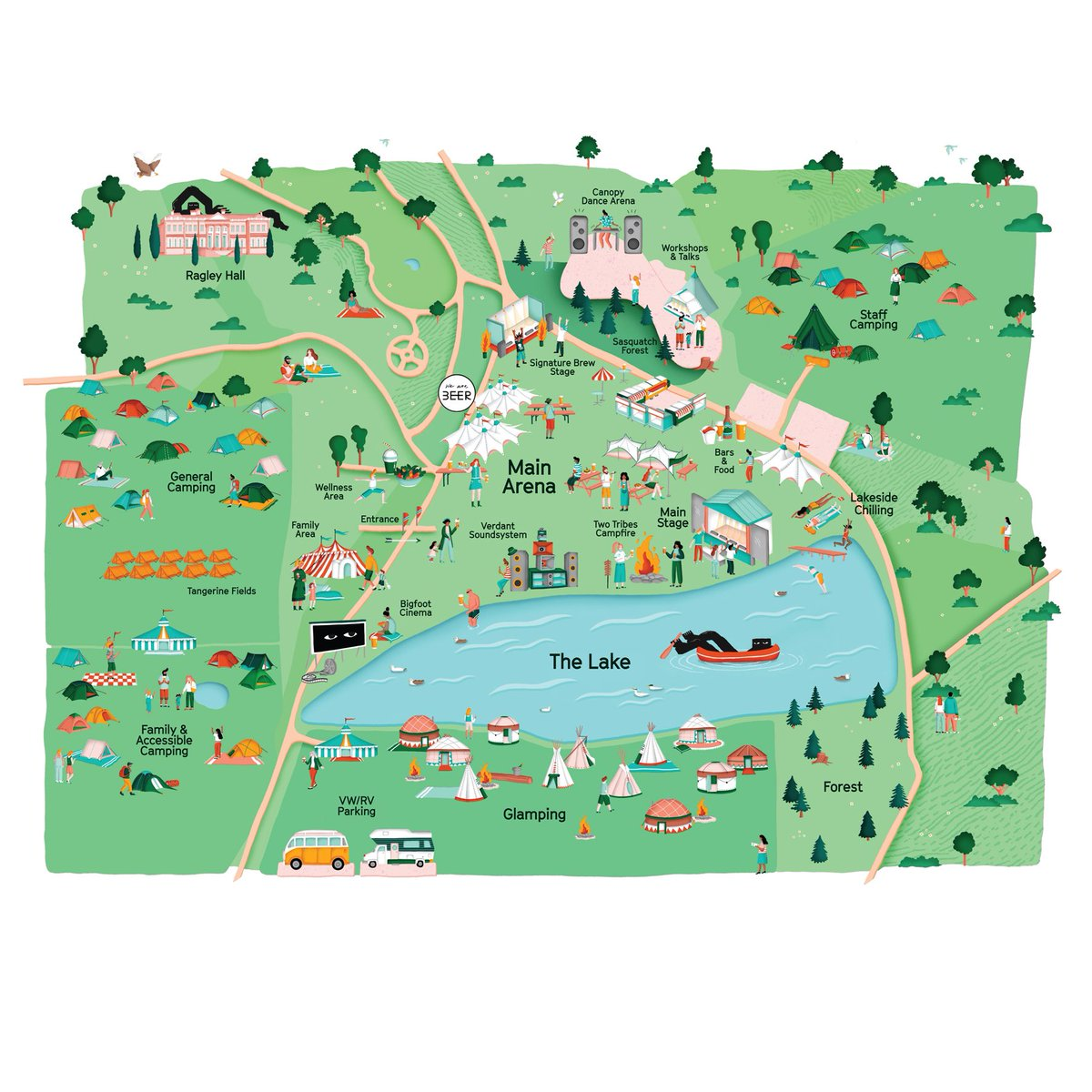Illustrated festival site map for @BigfootFest and @weare_BEER. A cheery commission for a dreary Jan! 👣🎉🍻  #illustration #mapillustration #map #limitedcolourpalette #musicfestival #music #camping #craftbeer #summer #ragleyhall #bigfootfest