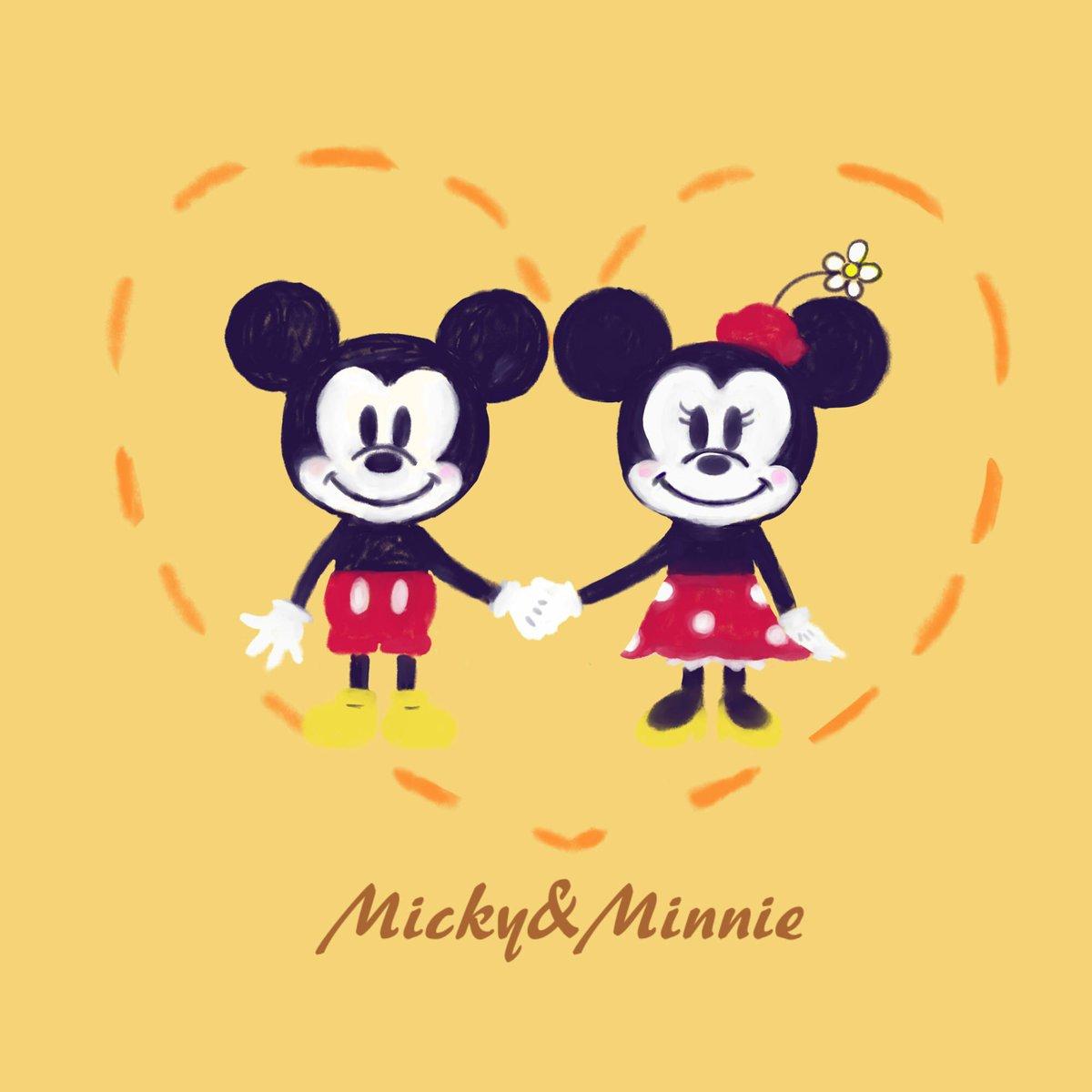 仲良しのミッキーとミニー🧡  ディズニーのイラスト描いてみたかったんです🥺  #disney  #illustration #micky #minnie #ミッキー #ミニー #イラスト