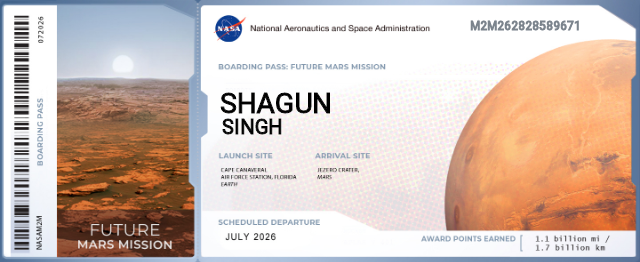 ❣️ I don't know much about this ticket😂 but it is amazing to see my name with #NASA #nasascience  #MARS  #future #mars