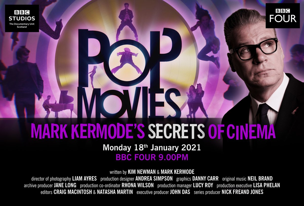 """A breathless romp"" TV Times ""Even more accomplished than usual"" Mail Weekend ""An enjoyable survey"" The Times ""Kermode's enjoyable series"" - Guardian ""A lively study of pop films"" Sunday Times Culture Lovely previews of tonight's SECRETS OF CINEMA on Pop Movies, @BBCFour 9pm"