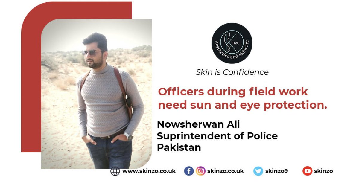"""Perfectly said by SP Nowsherwan Ali """"Officers in field work need extra protection""""  ☀️Mostly skin damage, photoageing occur due to too much exposure to UVA &UVB☀️Daily #SPF 50☀️hydrated skin☀️eye protection is vital.   #sunprotection #Police #lifestyle #SPF"""