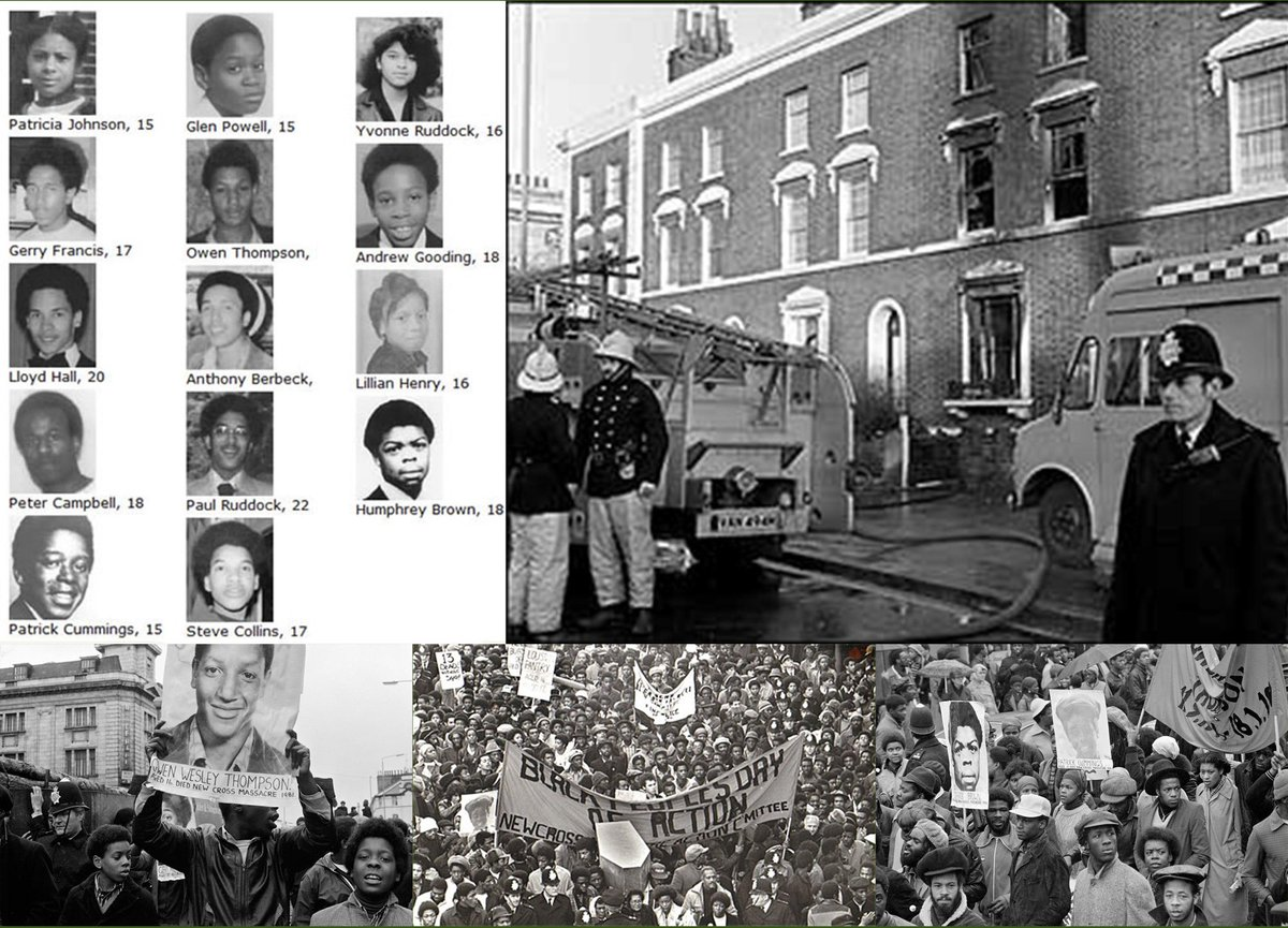 40 yrs ago today, early hrs 18 Jan 1981, fire at house party New Cross, London, killed 13 young people. Helped create Black British voice with a politicised identity; a turning point; Black people spoke for themselves in face of media & police indifference to loss of young lives.