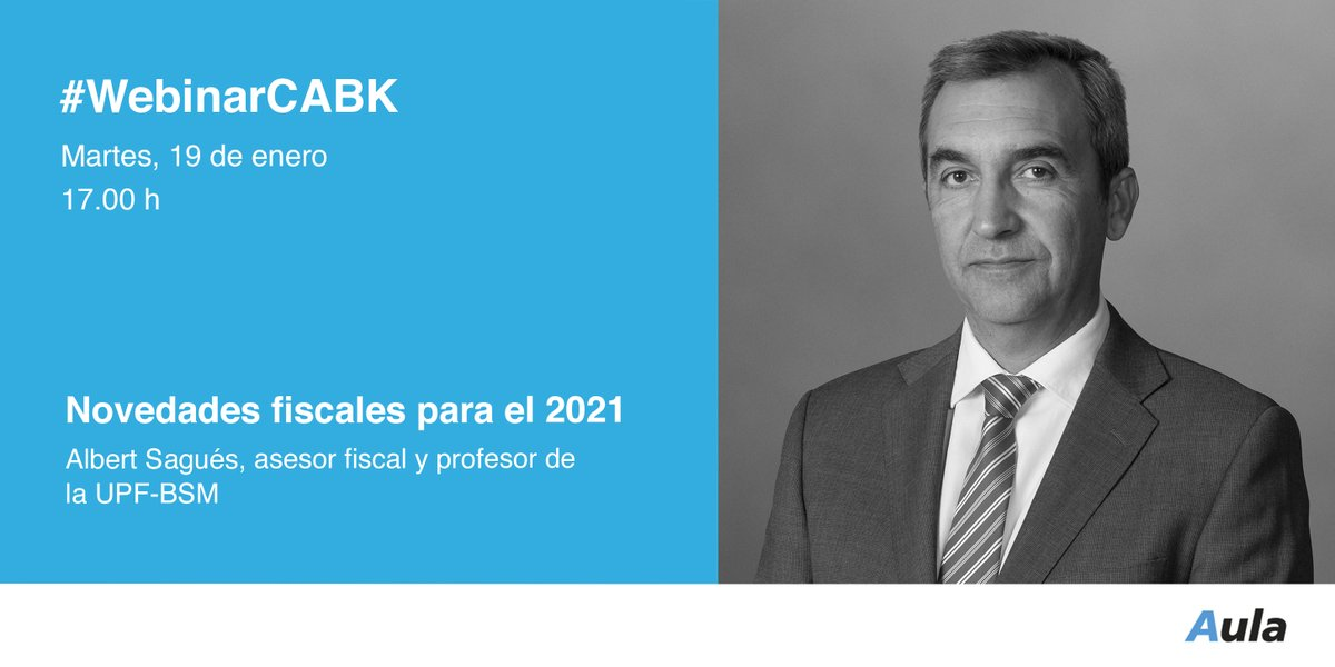 🗓 Mañana día 19 celebraremos el primer #webinar del año sobre #fiscalidad, con @albertsagues de la @bsm_upf #EducaciónFinanciera.  💡 Novedades fiscales para el 2021 ⏰ 17.00 h  Inscríbete ➡