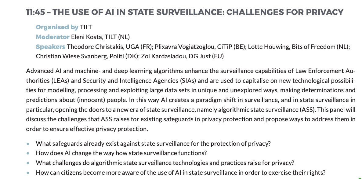 Join us on 27/1 at 11.45 for the CPDP panel on the use of AI in state surveillance with @TC_IntLaw, @plixavra, Lotte Houwing (@bitsoffreedom), Zoi Kardasiadou, Christian Wiese Svanberg from  @Rigspoliti & @eleni_kosta as moderator. https://t.co/RCqmJ2dxhF