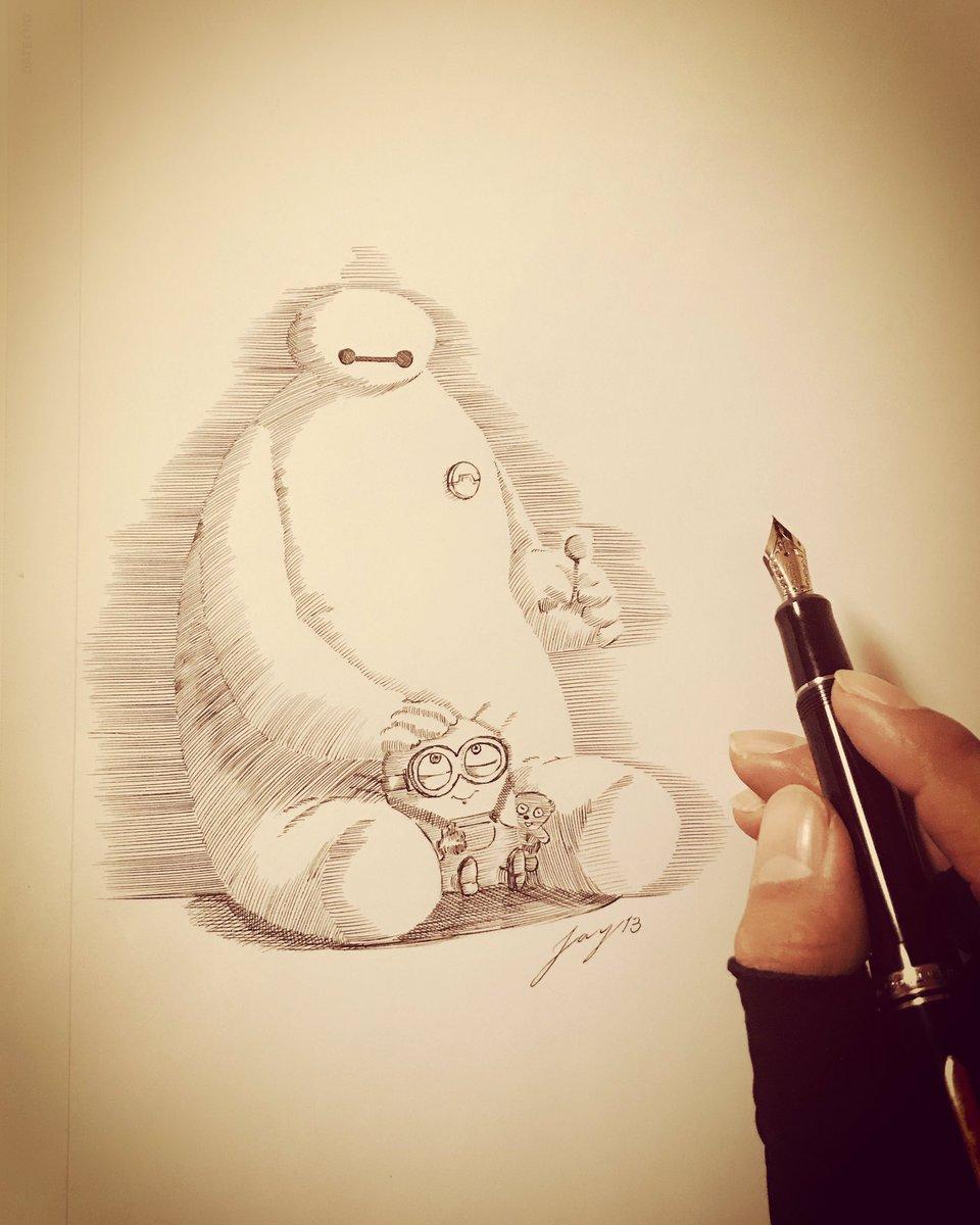 子供達のクリスマスリクエストの絵 (Twitterに投稿すんの忘れてた)  #draw #art #drawing #foutainpen #万年筆イラスト #アナログ一発描き #ベイマックス  #万年筆アート #ペン画 #ビッグヒーロー6 #bighero6 #baymax #ディズニー #disney