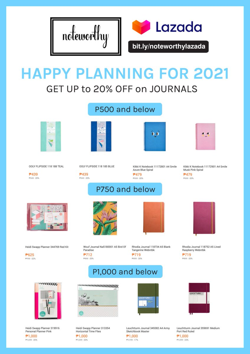 Still looking for a 2021 planner? Shop online on Noteworthy's Lazada store and get up to 20% OFF on journals!  Stocks are limited. Add to cart and check out now: . #2021Planner #Journal #Journaling #NBSsale #NBSeveryday