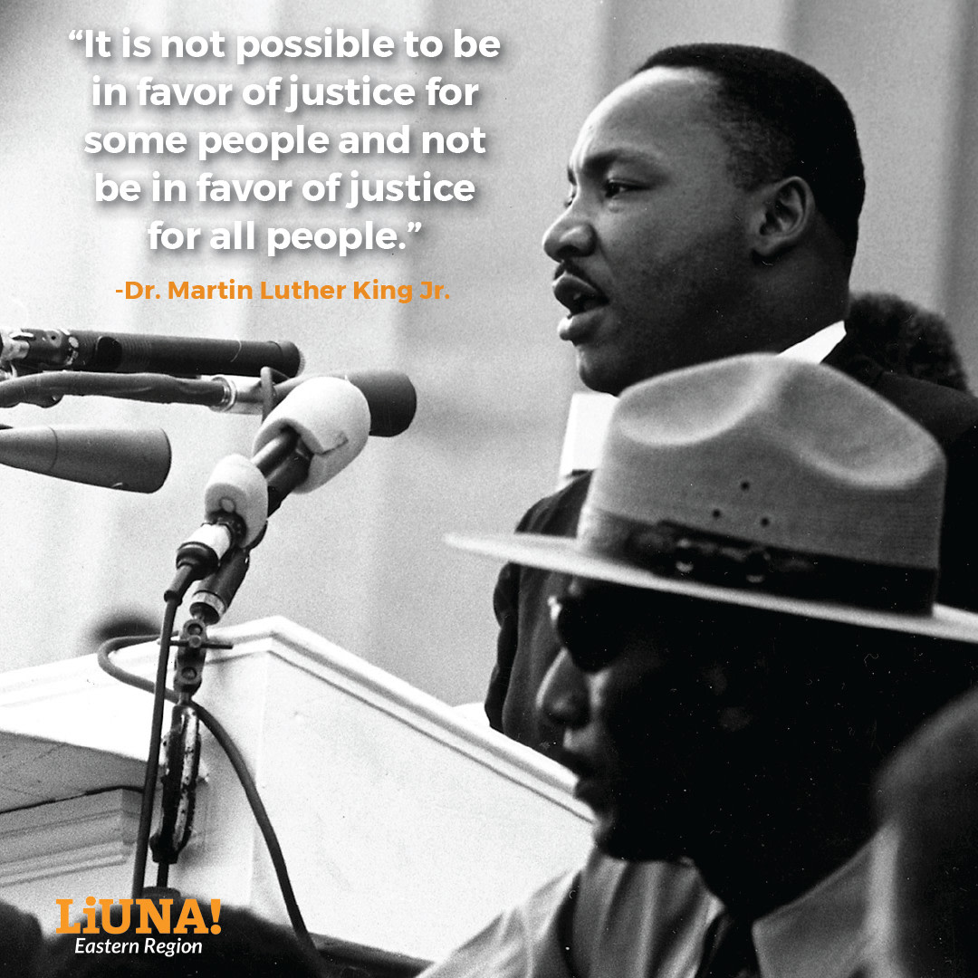 """""""It is not possible to be in favor of justice for some people and not be in favor of justice for all people.""""—Dr. #MartinLutherKingJr  This is why #unions fight for ALL #workers.  This #MLKDay, if you're able, consider making it a day of service:"""