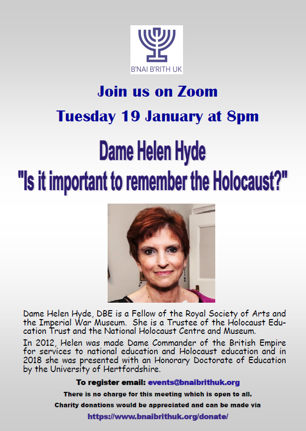 2/2 ... Commander of the British Empire for services to national #education & #Holocausteducation & in 2018 she was presented with an #HonoraryDoctorateofEducation by @UniofHerts. This promises to be popular so make sure you register asap. To join, email: events@bnaibrithuk.org https://t.co/lpZ9Yc1B9n