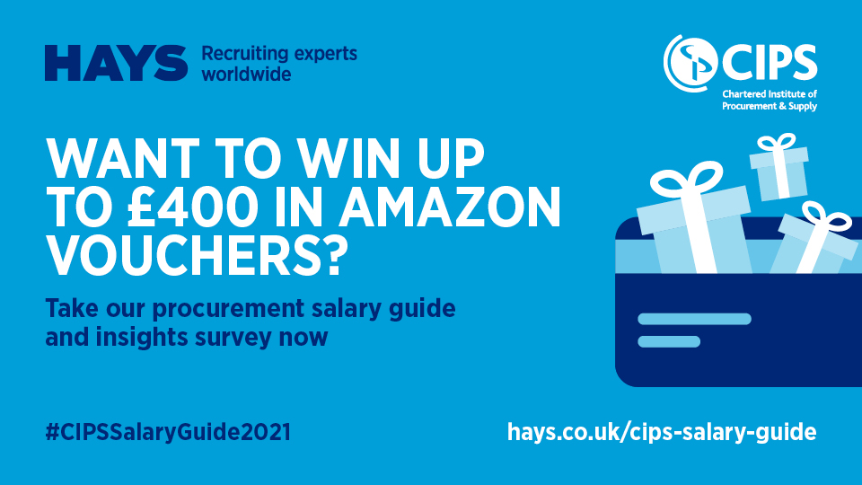 Take part in our new #CIPSSalaryGuide2021 Survey in partnership with @cipsnews and share your insights and more and you could be in with a chance of #winning a £400 #Amazon voucher!