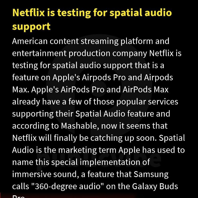 Netflix testing spatial audio support for the AirPods Pro and AirPods Max. #netflixindia #applesupport #Airpods #AirpodsMax #publicvibe #Netflix