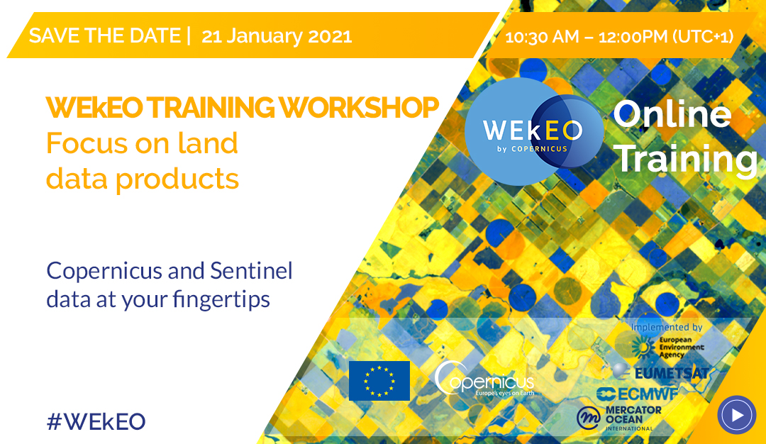 🔴Our #WEkEO #Training Session focussed on #Land applications is coming! 📅 21 January 10:30 – 12:00 UTC+1 👉 bit.ly/WEkEO_LandTrai… Register now and meet the WEkEO User Support experts and learn how to process @CopernicusEU and #Sentinel data & products!