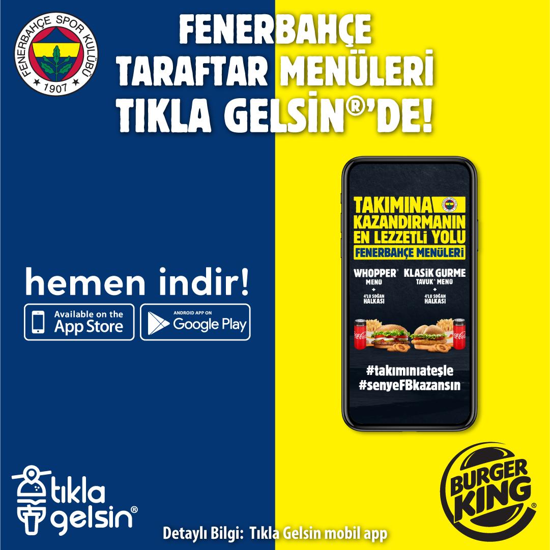 Fenerbahçe taraftarı Burger King®'in ateşiyle takımına desteğe hazır! Hemen yenilenen Tıkla Gelsin® mobil uygulamasını indir, Burger King®'den Fenerbahçe Taraftar Menüsü siparişini ver, sen ye takımın kazansın!  #TıklaGelsin @BurgerKingTR   👉