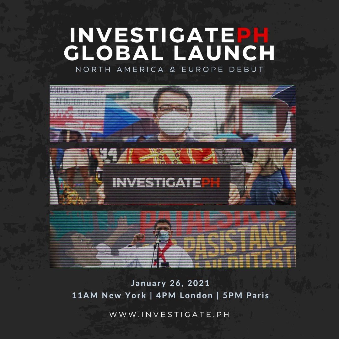 #INVESTIGATEPH North America & Europe Launch  January 26 (11AM NY / 4PM LDN / 5PM PAR) READ MORE:   Despite increasing international pressure, #humanrights violations and killings continue in the #Philippines. NOW, the world wants to #InvestigatePH