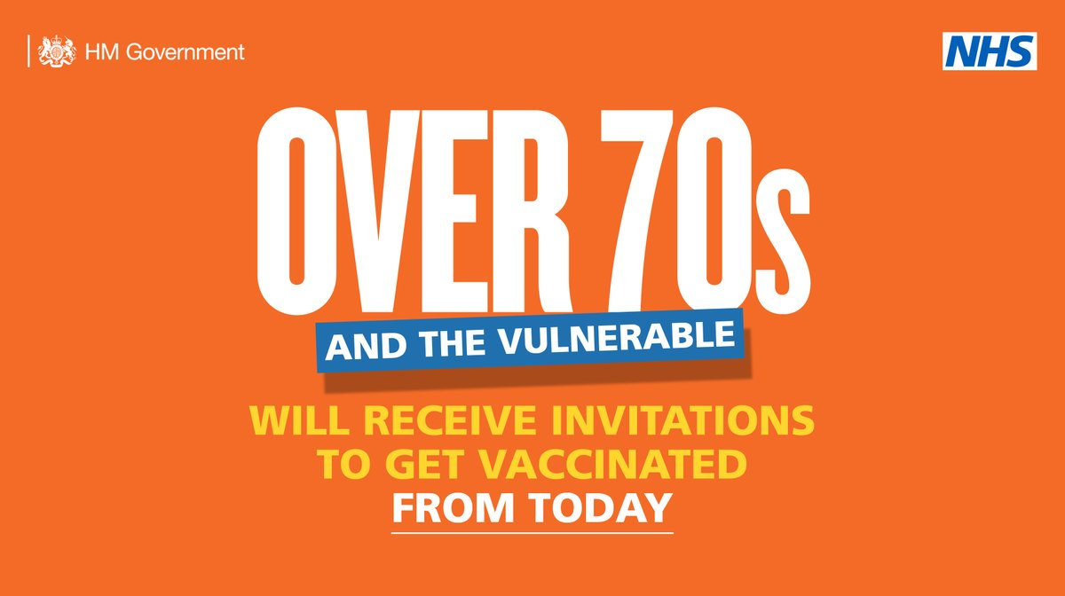 Today marks a significant milestone as we offer vaccinations to millions more people who are most at risk from COVID-19.  We have a long way to go and there will be challenges ahead - but together we are making huge progress in our fight against this virus.