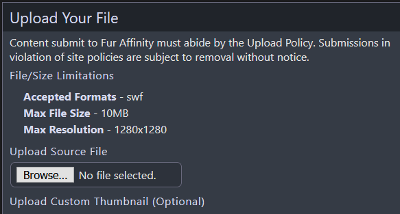 Is fur affinity ever going to support webm or mp4 uploads? Flash literally doesn't even work anymore