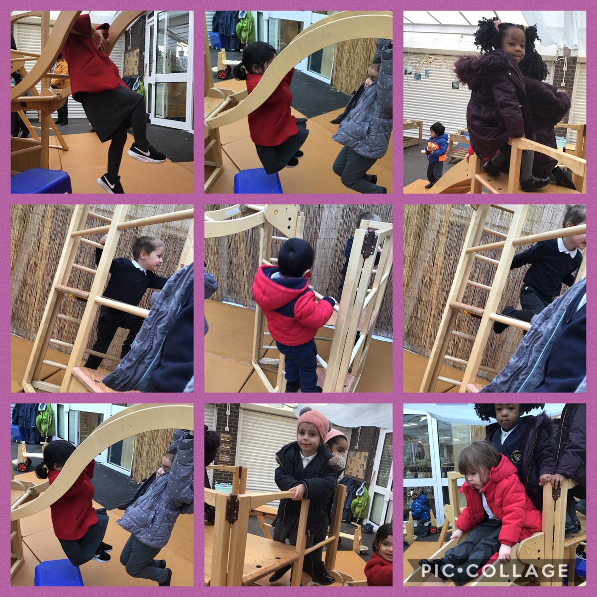 "Little Saints and nursery are having lots of fun outside finding different ways to use and move on the climbing frame.   Zaynab made some monkey noises as she moved along the monkey bars  George said ""look Miss Pimbley I'm king""   #exploring #climbing #monkey #EYFS"