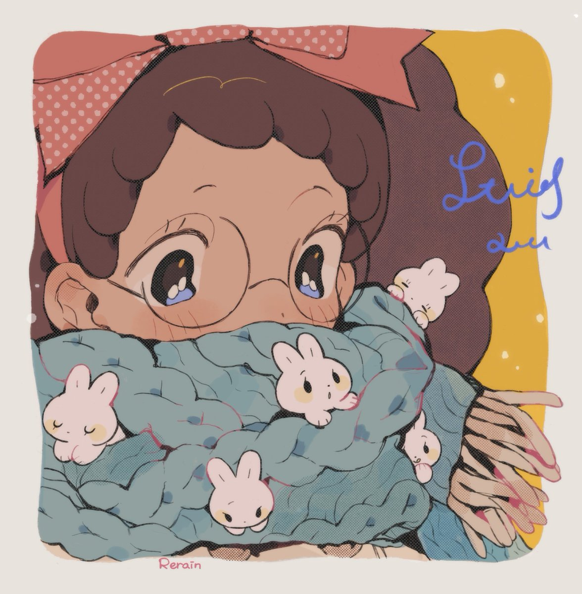 Bunnies hiding in the scarf ❄️