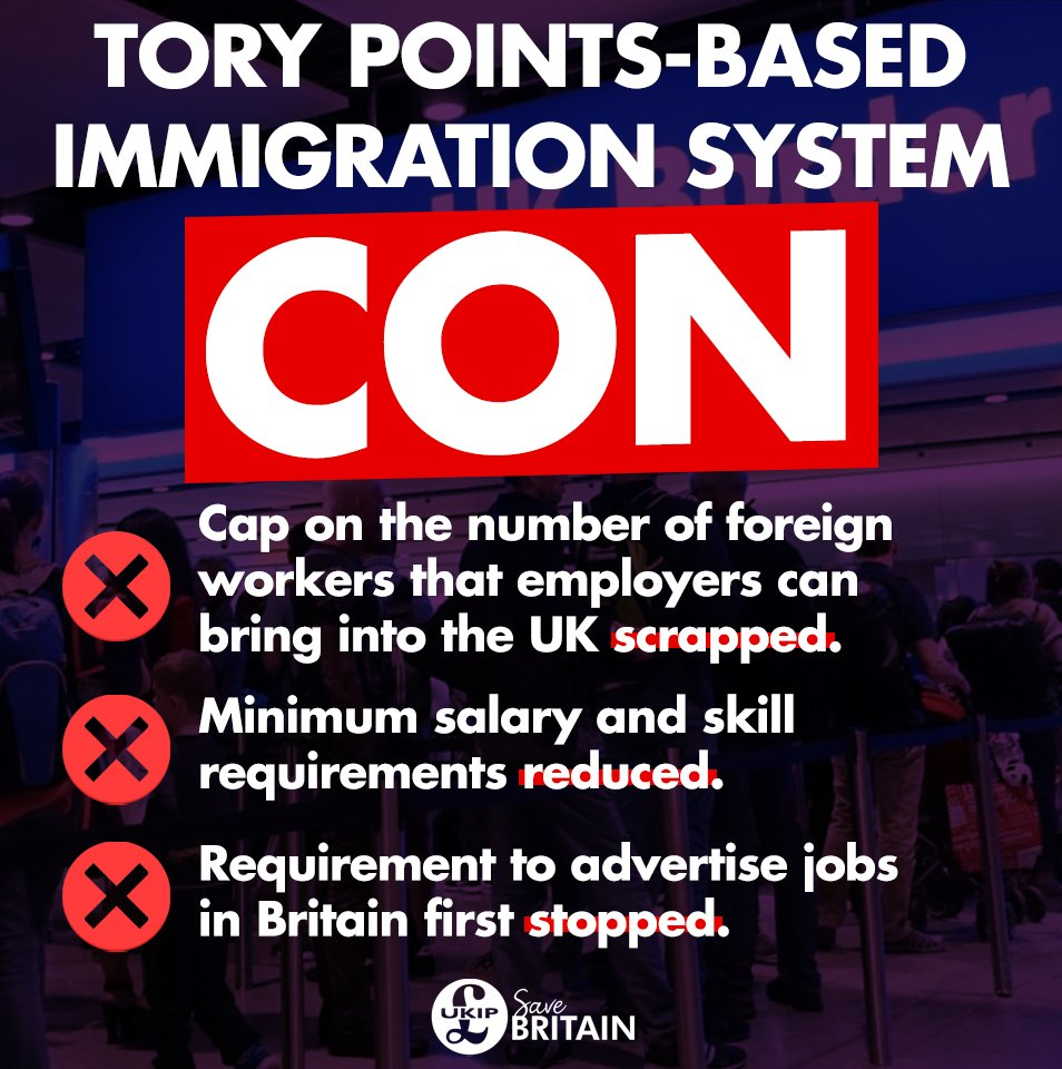 🕵️ Ignore the grandstanding and read the fine print: the Tory points-based immigration system is not quite as it seems.  ➡️ Had enough of broken promises on immigration? Make a stand and join UKIP today: