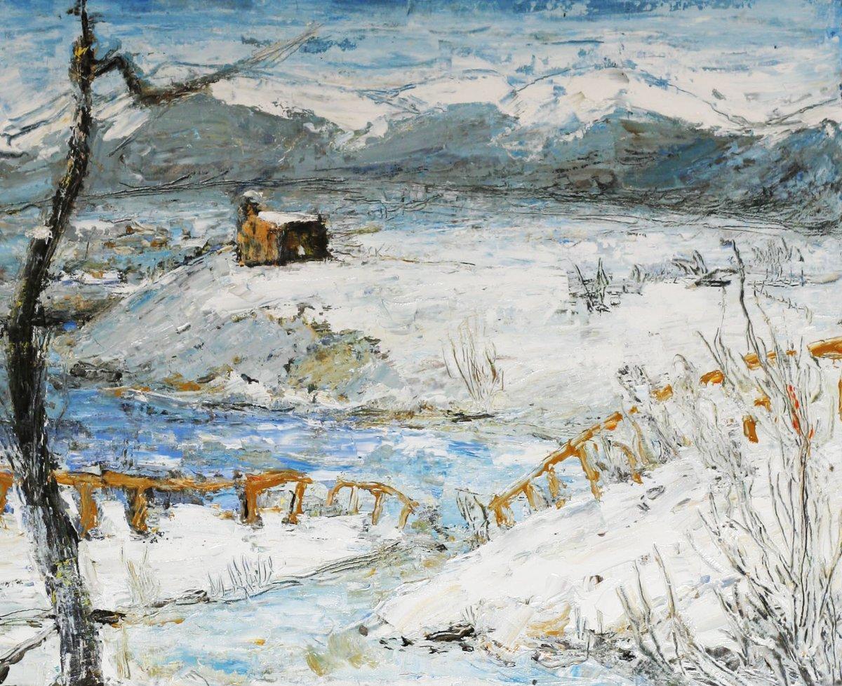 Paisaje Nevado (Óleo sobre lienzo) / Snowy landscape (Oil on canvas)  IG:   #oilpainting #contemporaryart #painting #art #arte #pintura #oleo #artoftheday #landscapepainting #impressionism #ArtLovers #artistsontwitter