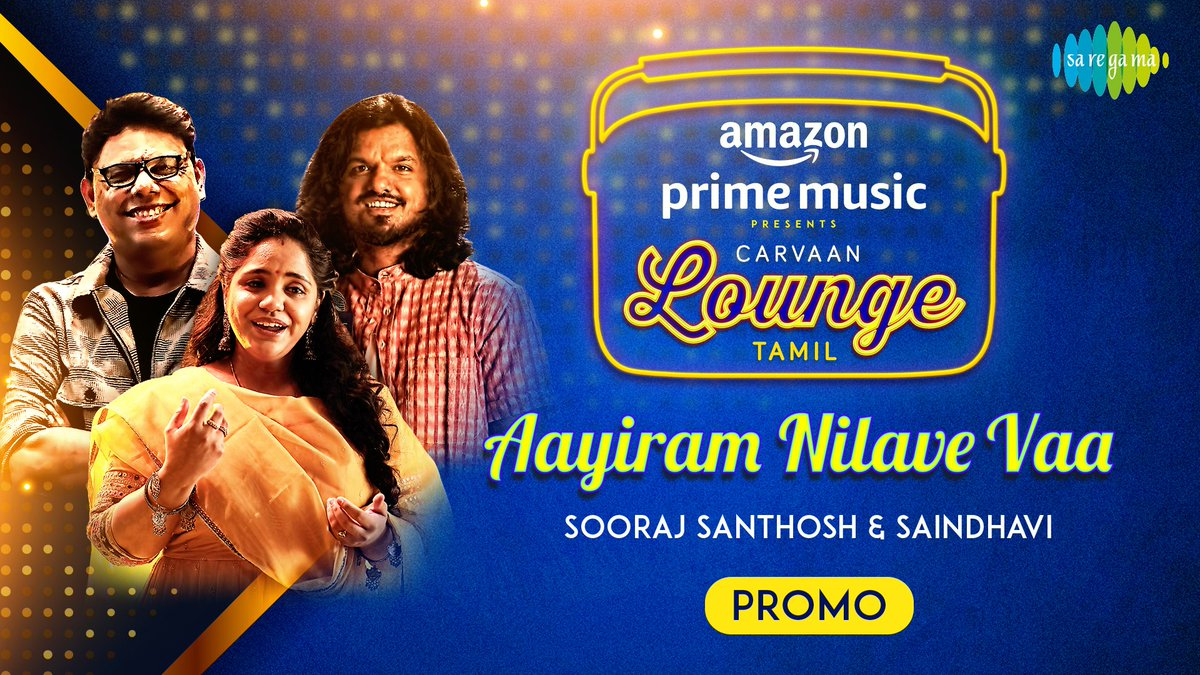Love is in the Air ❤️🎶  Here's the promo of #CravaanLoungeTamil 4th track #AayiramNilaveVaa recreated by @CSathyaOfficial Ft. @singersaindhavi & @soorajslive!  ⏯️    Out tomorrow at 5pm.  #FirstOn @AmazonMusicIN #CarvaanLoungeOnAmazonMusic