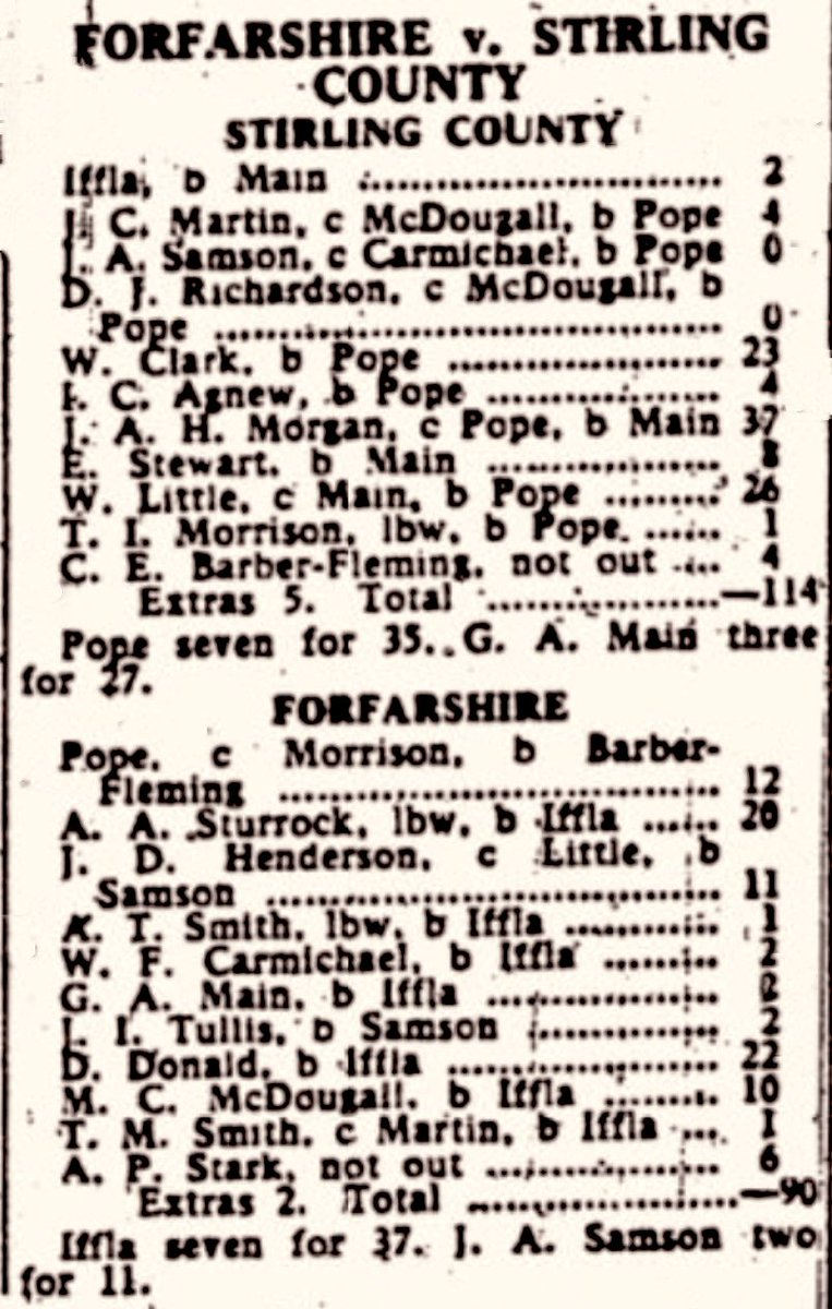 #Season1956 @the_forfs v @StirlingCCC #IrvinIffla...what a player. Touched with #Greatness - Even #Pope couldn't beat him @countyjambo @WDCUcricket