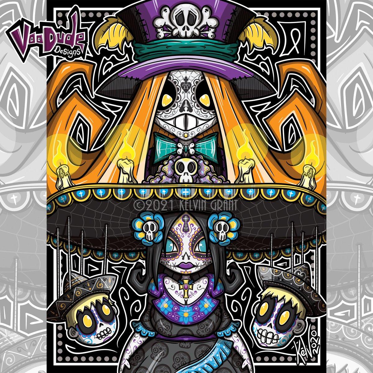 It's finally done! My family portrait for 2020 (I know it's late 🤣).   #voodudedesigns #voodoo #voodude  #dayofthedead #delosmuertos #sugarskull #diadelosmuertos #halloween #skullart #mexico #mexican #marriachi #coco #bookoflife #sugarskullmakeup #digitalartist #digitalart